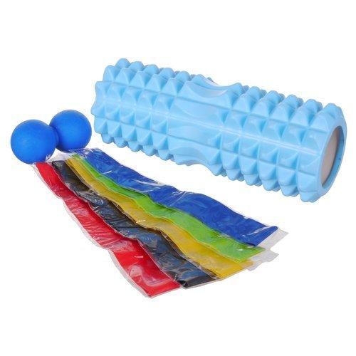 Zestaw do ćwiczeń FootWave Workout wałek roller gumy oporowe piłka twarda duos fitness